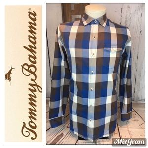 Tommy Bahama Multicolor Plaid Button Up XL